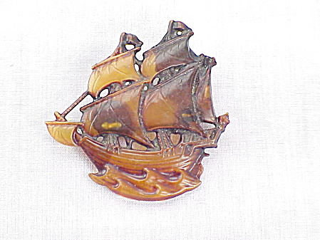 Antique Victorian Carved Tortoiseshell Mast Ship Brooch