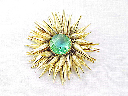 Vintage Unsigned Miriam Haskell Starburst Or Sea Urchin Brooch