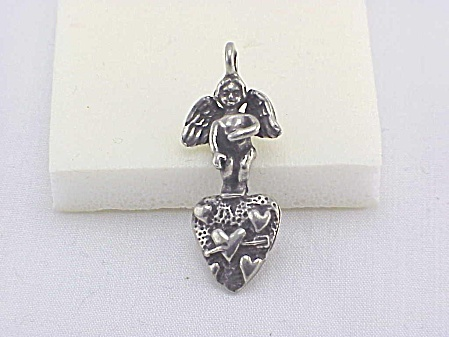 Vintage Sterling Silver Cherub Or Angel And Heart Pendant