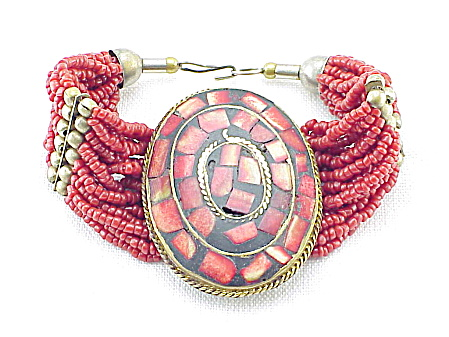 Vintage Tribal Wide Red Coral Inlay And Bead Bracelet