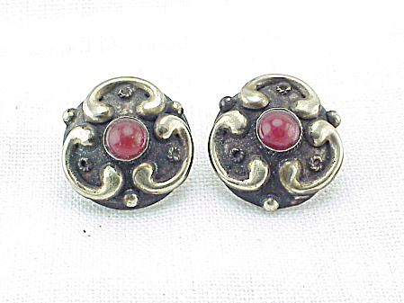 Arts & Craft Or Art Nouveau Sterling Silver Carnelian Pierced Earrings