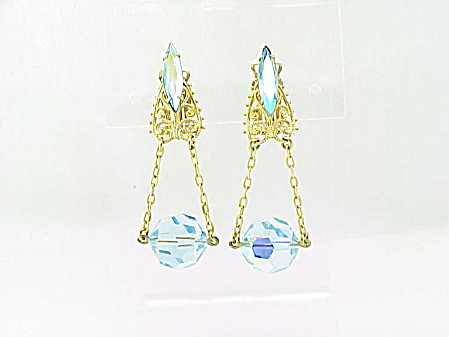 Vintage Filigree, Rhinestone And Dangling Blue Crystal Clip Earrings