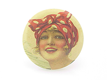 Vintage Hand Or Purse Mirror With 1920-30's Woman In Bandana