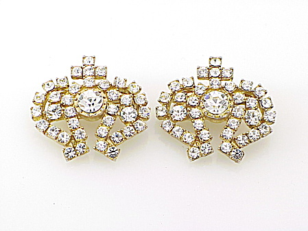 COSTUME JEWELRY - PAIR OF VINTAGE RHINESTONE CROWN BROOCHES OR PINS (Image1)