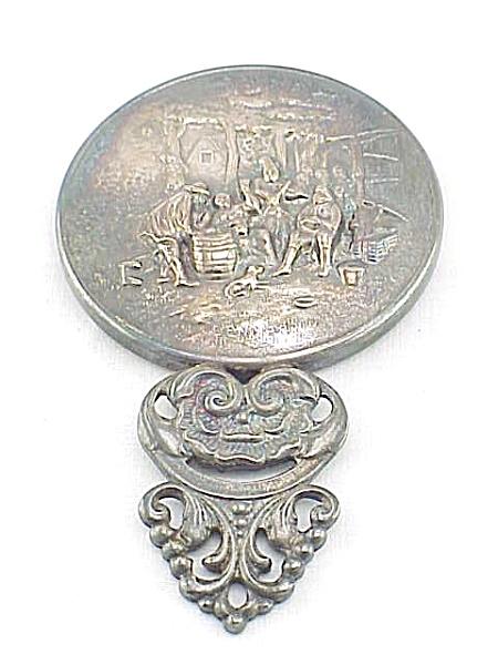 Vintage Hans Jensen Denmark Silver Hand Held Mirror