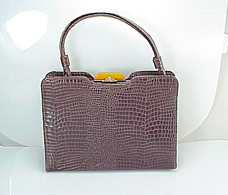 VINTAGE GAYMODE CROCODILE OR ALLIGATOR PURSE HANDBAG BAKELITE CLASP (Image1)