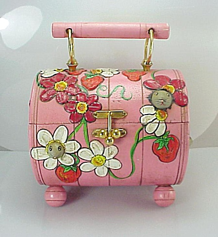 HOUSE BY MARY PINK DECOUPAGE PURSE WITH MICE, STRAWBERRIES