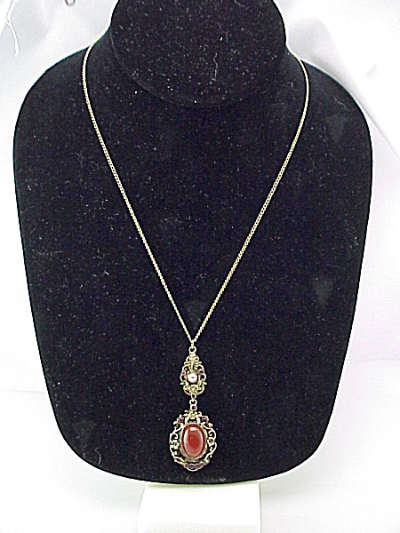 ANTIQUE VICTORIAN ART NOUVEAU CARNELIAN LAVALIERE PENDANT NECKLACE  (Image1)