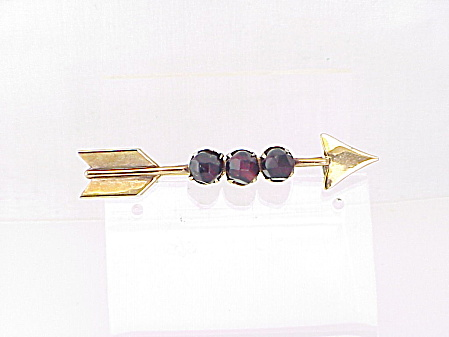 Vintage Coro Arrow Brooch With Dark Red Faceted Beads