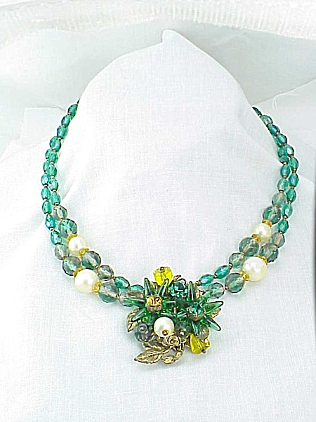 Vintage Alice Caviness Green Glass Bead, Pearl, Rhinestone Necklace