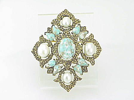 Sarah Coventry Remembrance Turquoise And Pearl Brooch - Book Piece