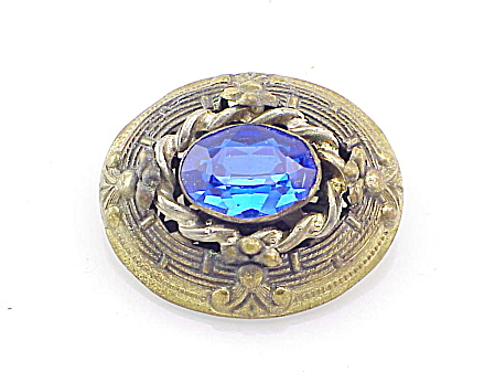 COSTUME JEWELRY - VINTAGE ART NOUVEAU BROOCH WITH BLUE GLASS RHINESTONE (Image1)