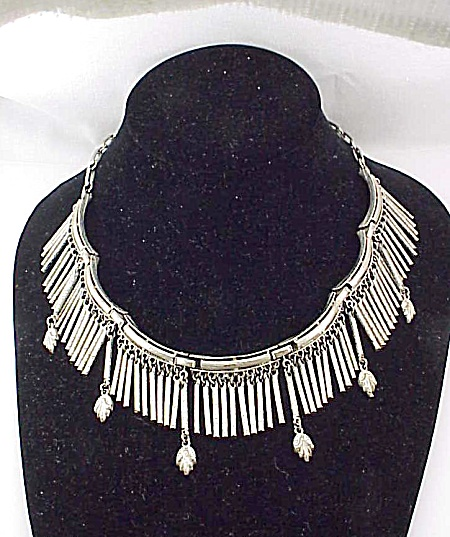 Vintage Tribal Style Silver Tone Dangling Fringe And Leaf Necklace