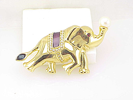 Enamel, Rhinestone And Faux Pearl Lucky Elephant Brooch
