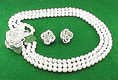 Vintage Japan White Glass Bead Flower Necklace And Earrings Set