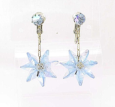 Vintage Dangling Blue Bead And Rhinestone Clip Earrings