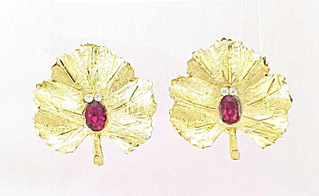 Vintage Red And Clear Rhinestone Leaf Clip Earrings Signed Bsk