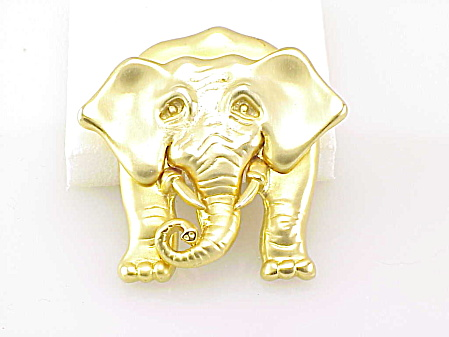 Large Matte Gold Tone Wrinkled Face Elephant Brooch