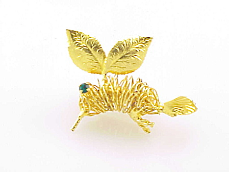 Gold Tone Rhinestone Hummingbird Or Bee Insect Brooch