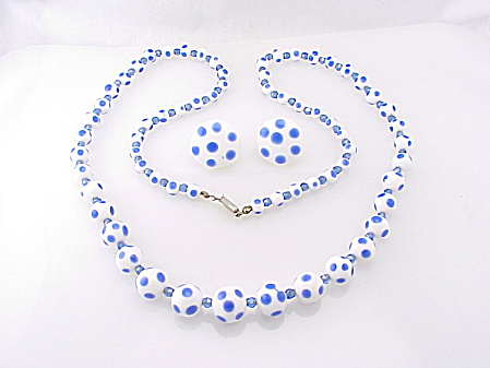 Vintage Japan Blue Polka Dot White Glass Bead Necklace & Earrings Set