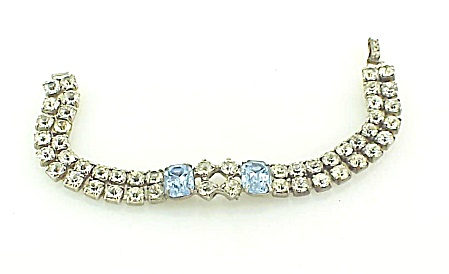 Vintage Double Row Blue And Clear Rhinestone Bracelet