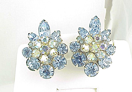 Vintage Blue Navette And Aurora Borealis Rhinestone Clip Earrings