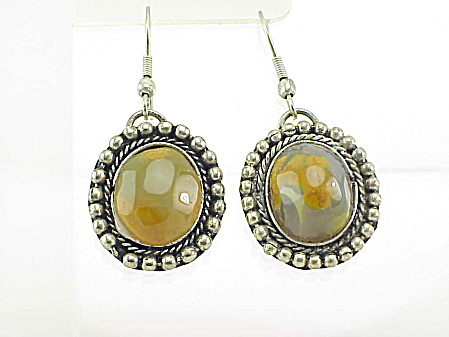 Dangling Sterling Silver And Agate Pierced Earrings