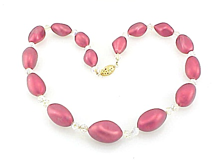 COSTUME JEWELRY - VINTAGE RED SATIN GLASS BEAD & AURORA BOREALIS CRYSTAL NECKLACE (Image1)