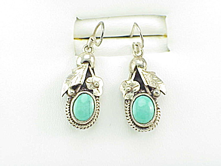 Native American Sterling Silver And Turquoise Pierced Earrings