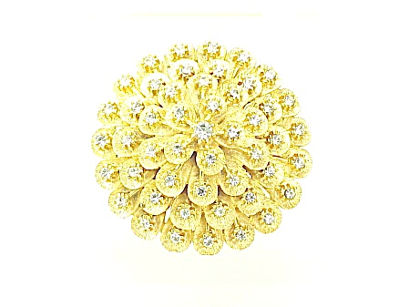 Vintage Brushed Gold Tone Clear Rhinestone Dome Brooch