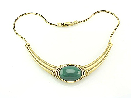 Monet Antiqued Gold Tone Necklace With Dark Green Lucite Stone