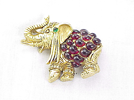 Vintage Hattie Carnegie Red Glass And Rhinestone Elephant Brooch