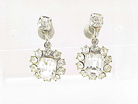 Vintage Coro Dangling Rhinestone Screw Back Earrings
