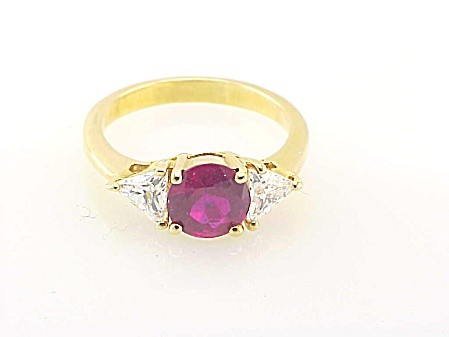Ruby And Cubic Zirconia Gold Tone Ring - Size 8-1/2