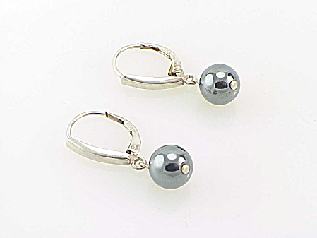 950 STERLING SILVER & DANGLING HEMATITE BALL PIERCED EARRINGS (Image1)