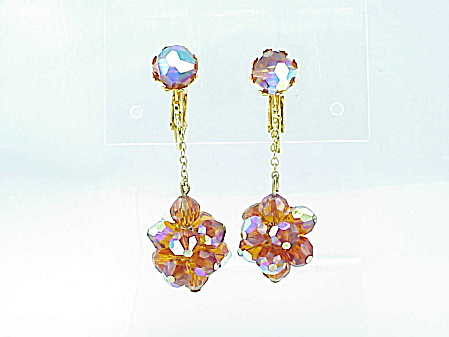 VINTAGE COSTUME JEWELRY - 1960'S MOD DANGLING AURORA BOREALIS CRYSTAL CLIP EARRINGS (Image1)