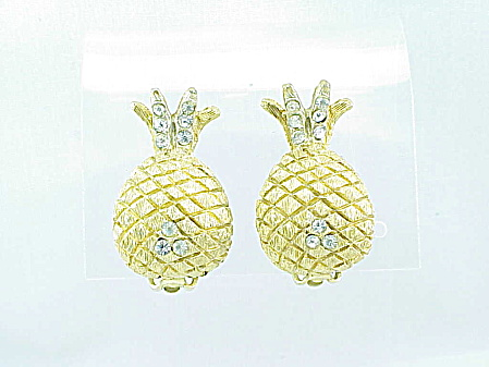 VINTAGE KRAMER RHINESTONE PINEAPPLE CLIP EARRINGS (Image1)