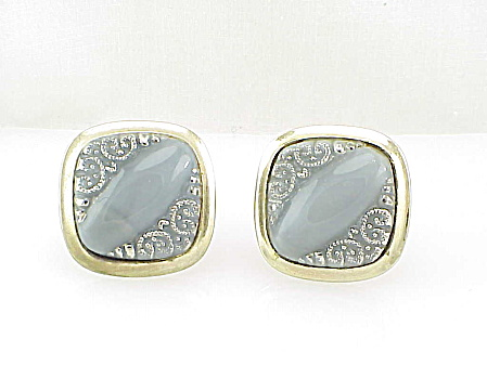 Vintage Large Carved Grey Moonstone Glass Cufflinks