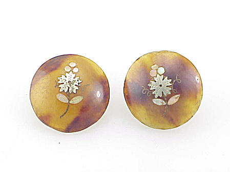 Antique Jewelry - Victorian Tortoiseshell Pique Inlay Cufflinks Or Shirt Waist Buttons
