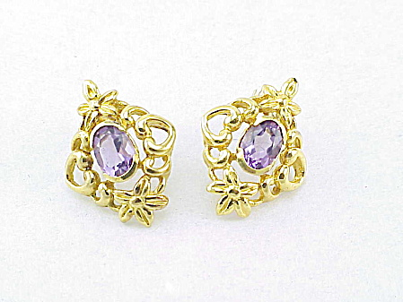 Art Nouveau Style Amethyst Glass Rhinestone Pierced Earrings