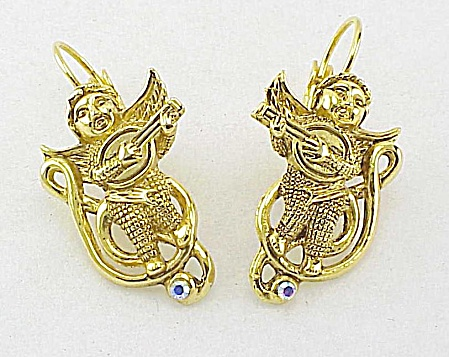 Musical Cherub Or Angel Playing Guitar Rhinestone Pierced Earrings