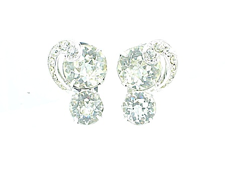 Vintage Eisenberg Clear Rhinestone And Icing Clip Earrings