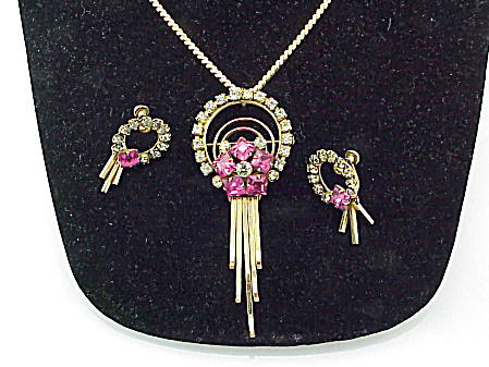 ART DECO RHINESTONE NECKLACE BROOCH AND EARRINGS SET SIGNED M&S (Image1)