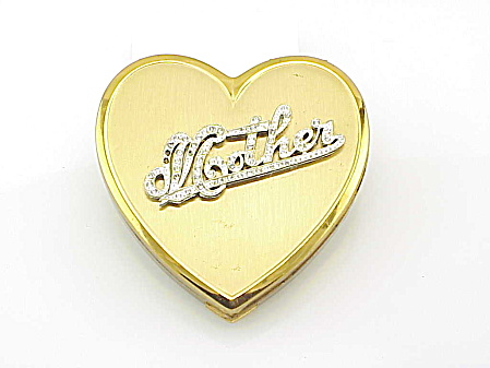 VINTAGE SUPERB HEART COMPACT WITH MOTHER WRITTEN IN RHINESTONES (Image1)