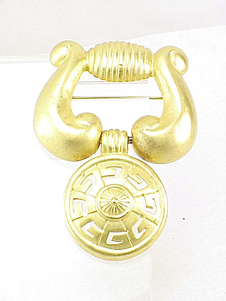 Givenchy Large Matte Gold Tone Moveable Door Knocker Brooch