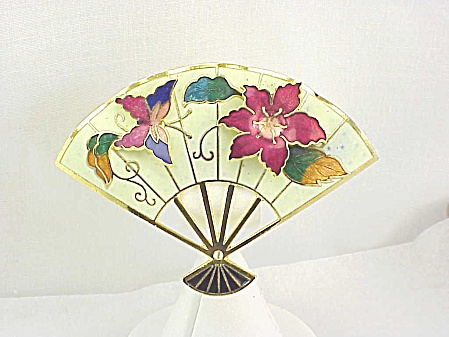 Vintage Enamel Or Cloisonne Fan Brooch With Butterfly And Flower