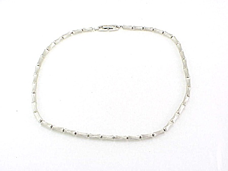 Silver Tone Bamboo Link On Chain Choker Necklace