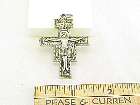 VINTAGE SILVER DETAILED CROSS CRUCIFIX MARKED ITALY (Image1)