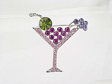 Rhinestone Cocktail Drink With Fruit Brooch Or Pin