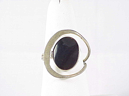 VINTAGE MEXICAN STERLING SILVER BLACK ONYX RING SIGNED EAGLE 3 (Image1)